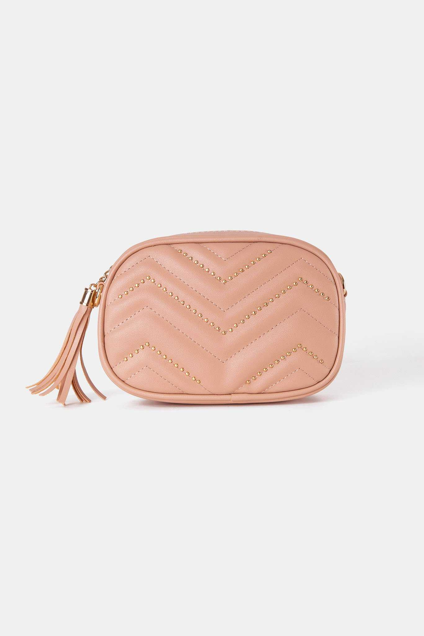 Studded Chevron Crossbody - Nude | Raw Orange