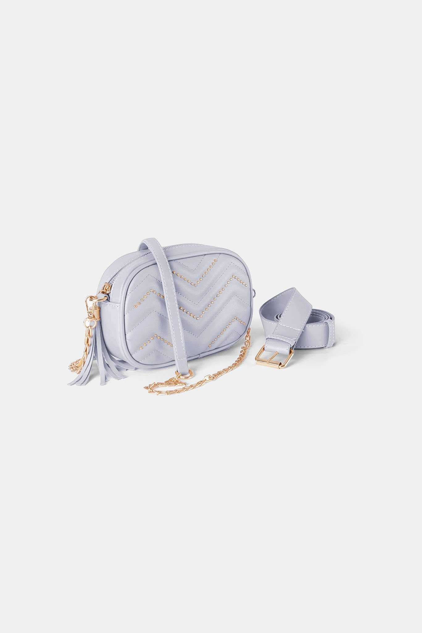 Studded Chevron Crossbody - White | Raw Orange
