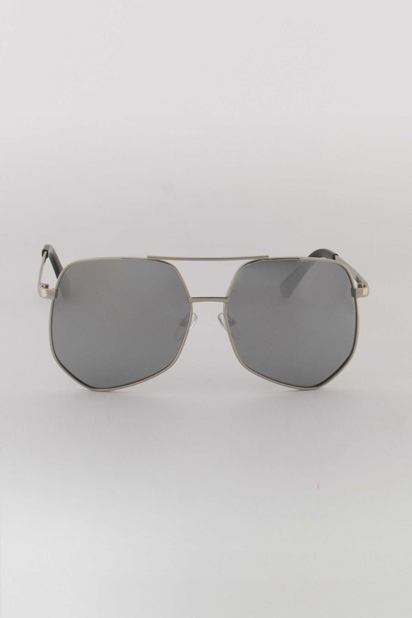 Hexagon Sunglasses - Silver | Raw Orange