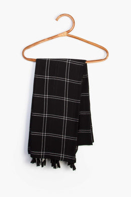 Striped Scarf - Black | Raw Orange