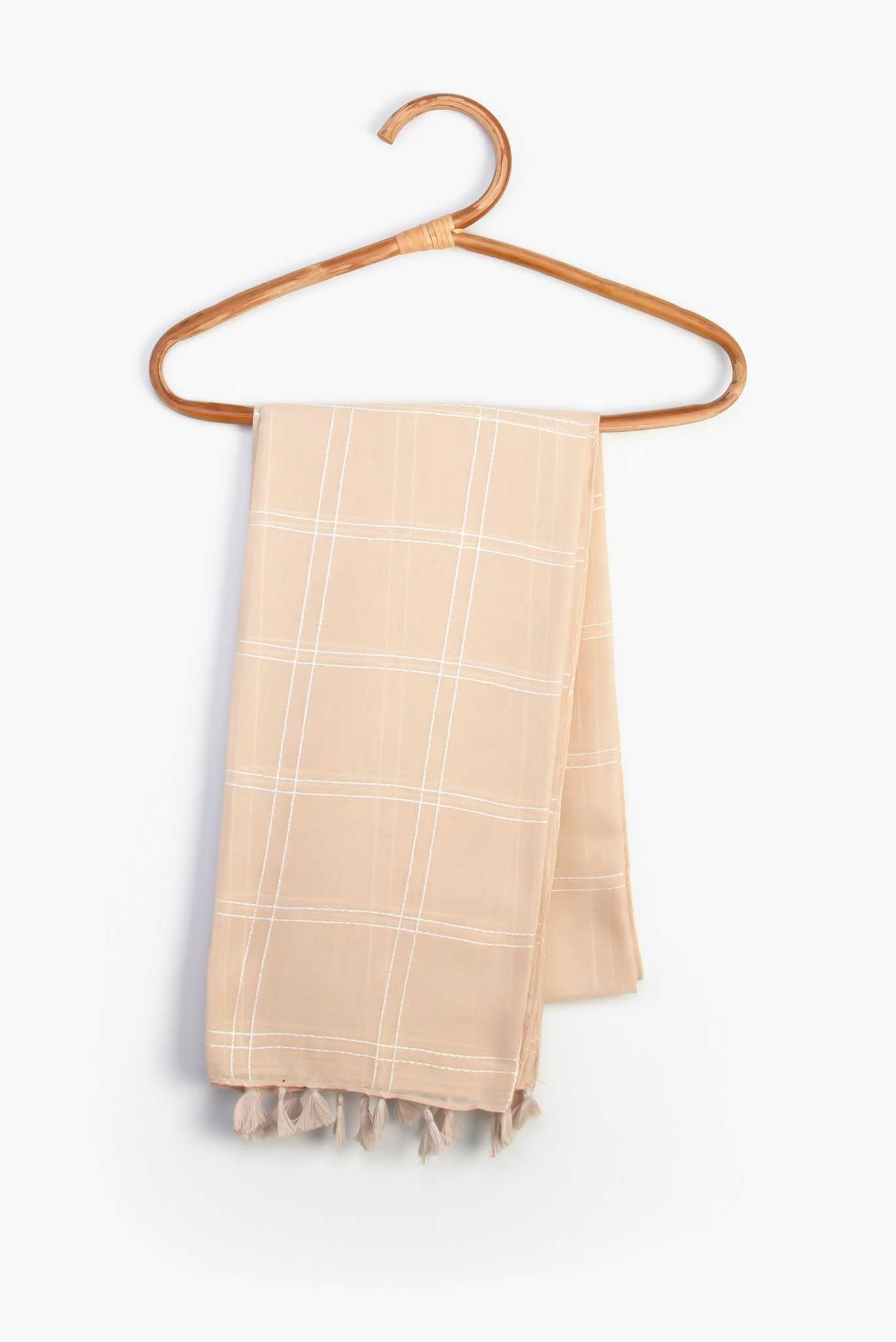 Striped Scarf - Beige | Raw Orange