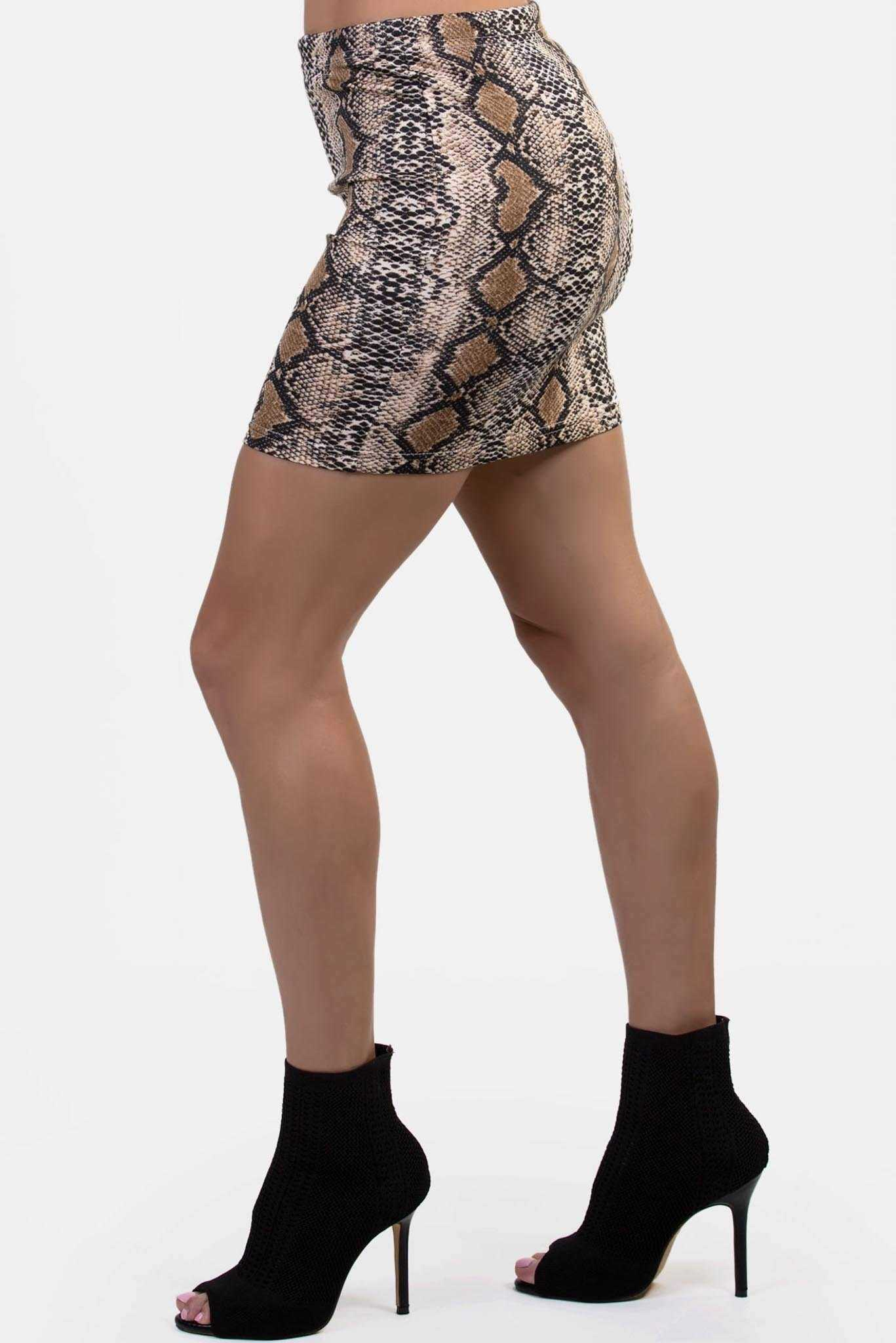 Mini Skirt - Snake Print | Raw Orange