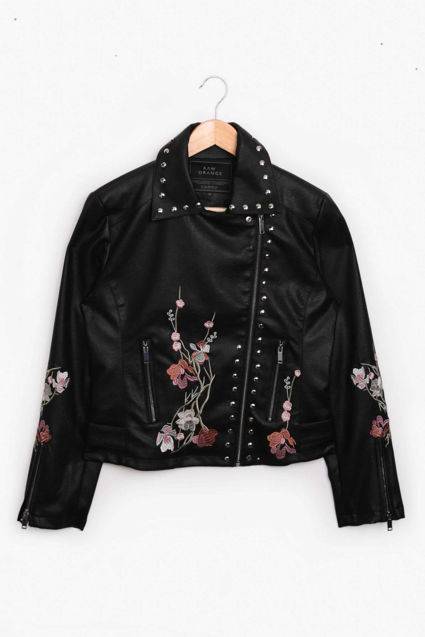 Leather Jacket - Black with Pink Florals | Raw Orange