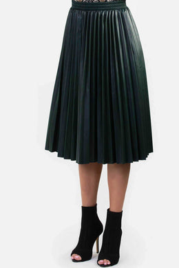 Faux Leather Skirt - Green | Raw Orange