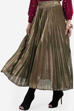 Shimmer Long Skirt - Golden