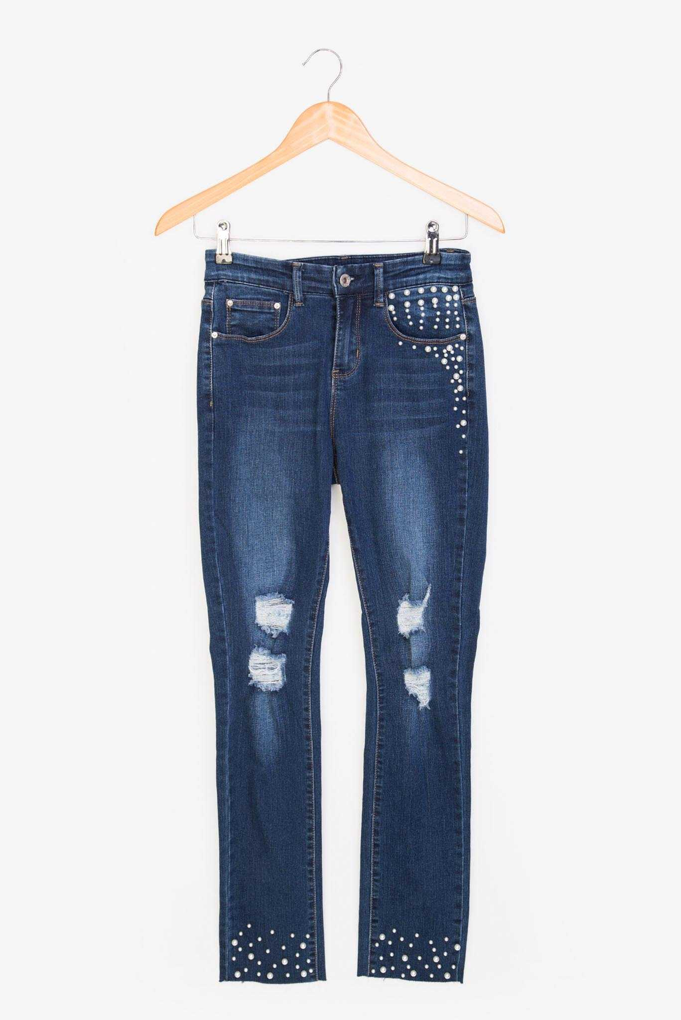 Pearl Studded Denim | Raw Orange