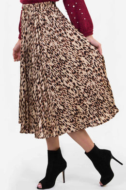 Pleated Skirt - Cheetah Print | Raw Orange