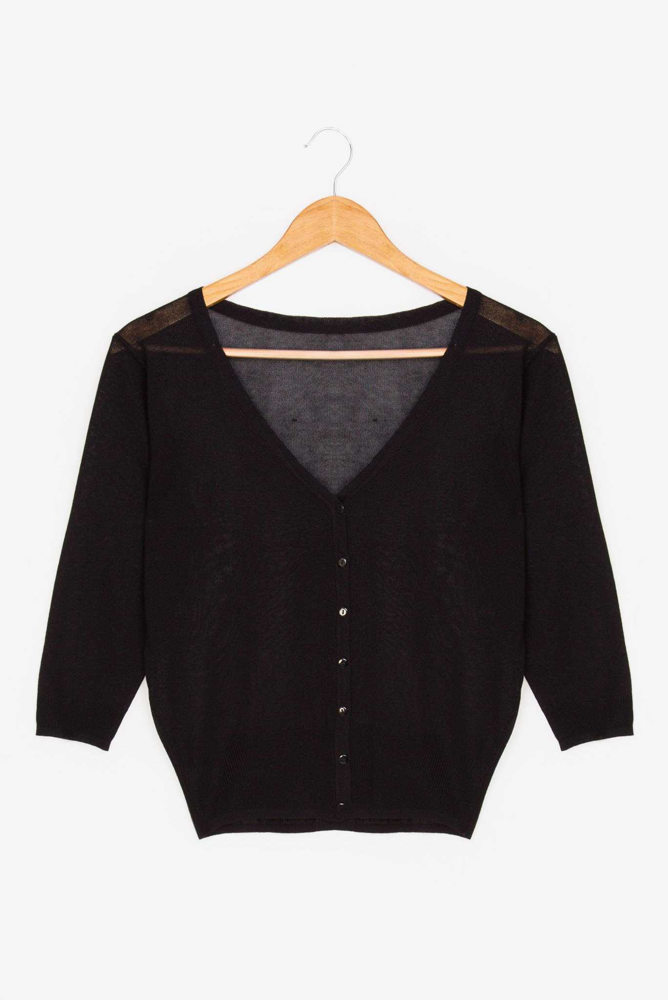Basic Cardigan - Black | Raw Orange
