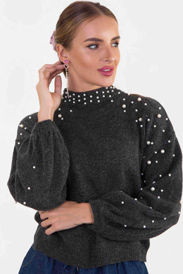 Pearl Embellished Sweater - Grey