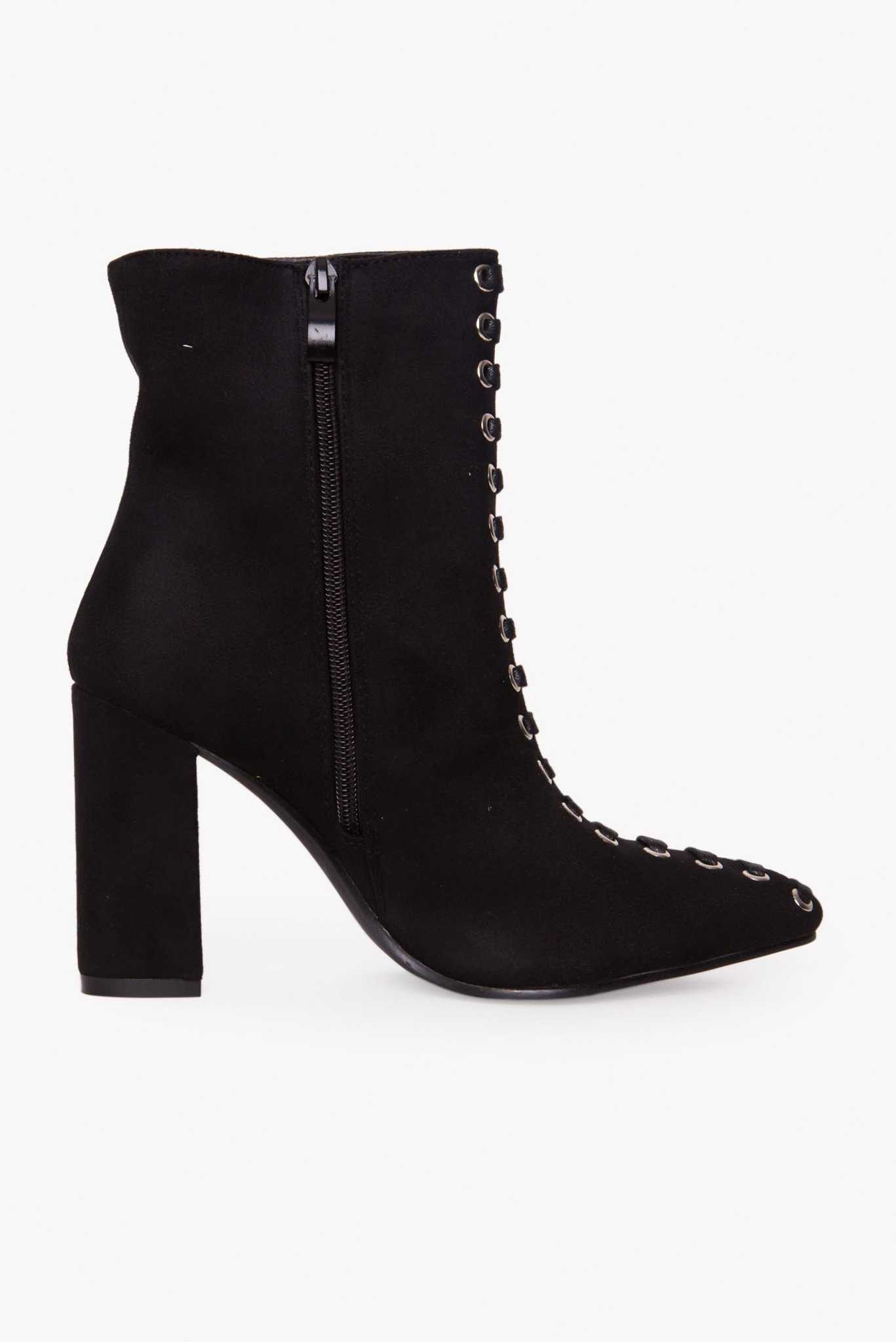 Lace Ankle Boots - Black | Raw Orange