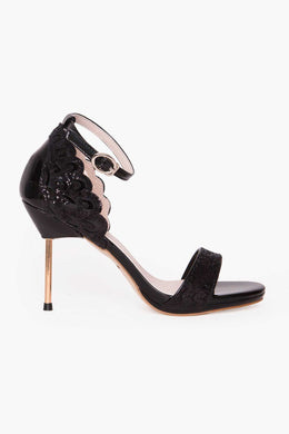Glitter Stiletto - Black | Raw Orange