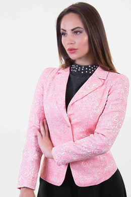 Jacquard Blazer - Pink | Raw Orange