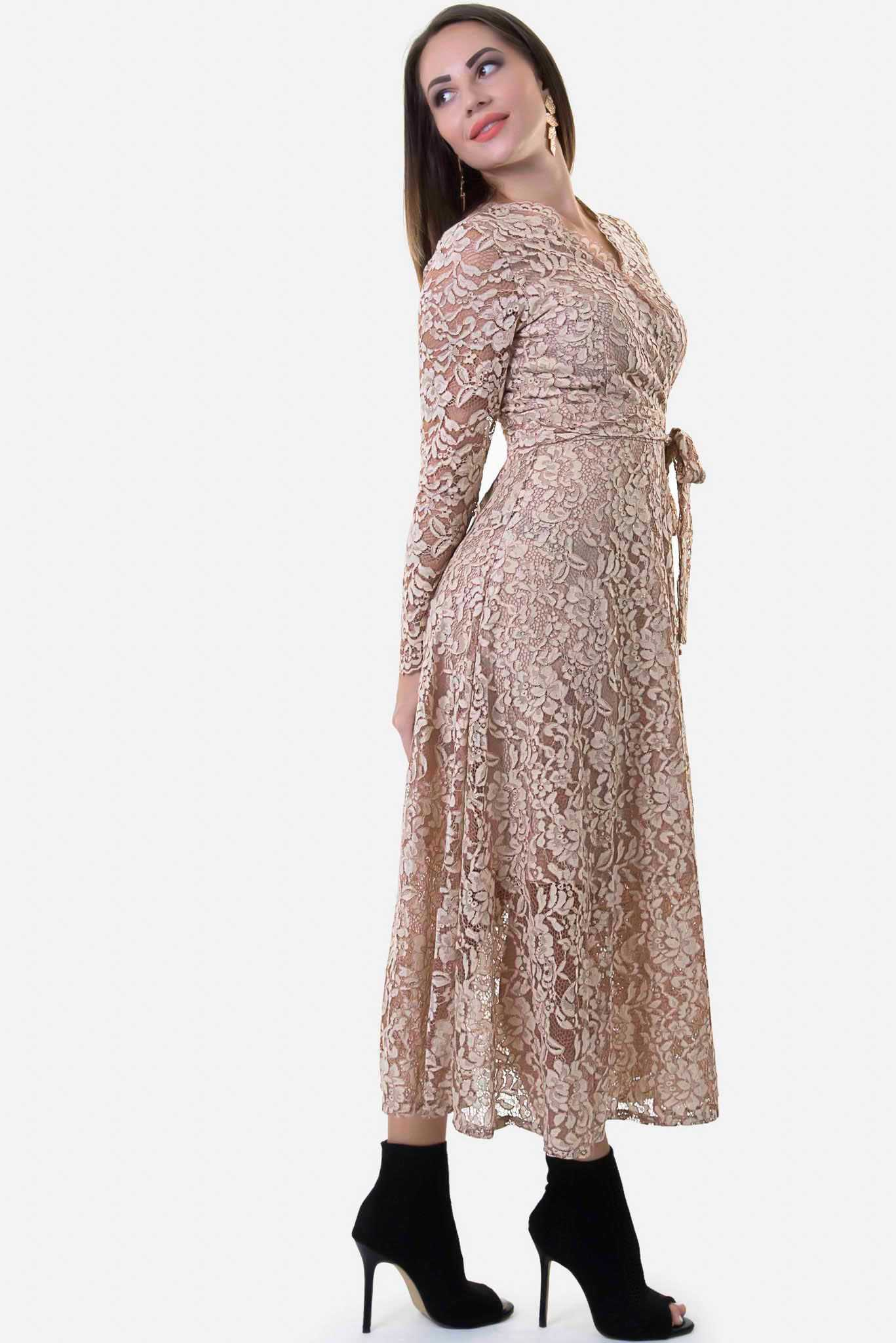 Maxi Lace Dress Brown
