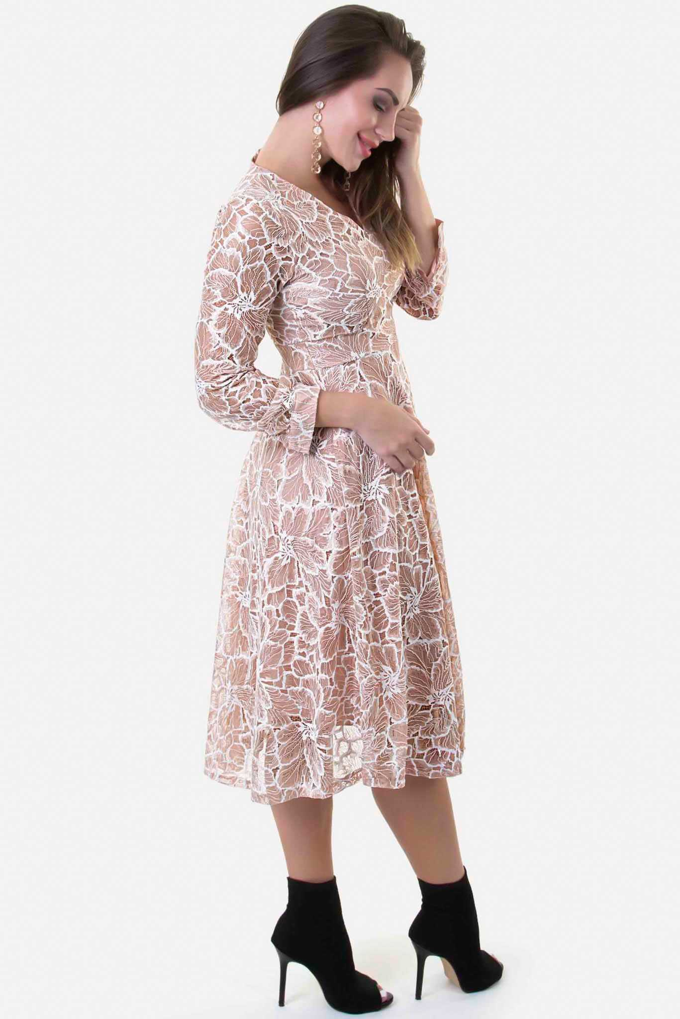 Scallop Dress - White Lace | Raw Orange