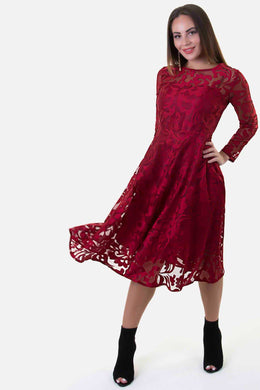 Guipure Lace Dress - Red