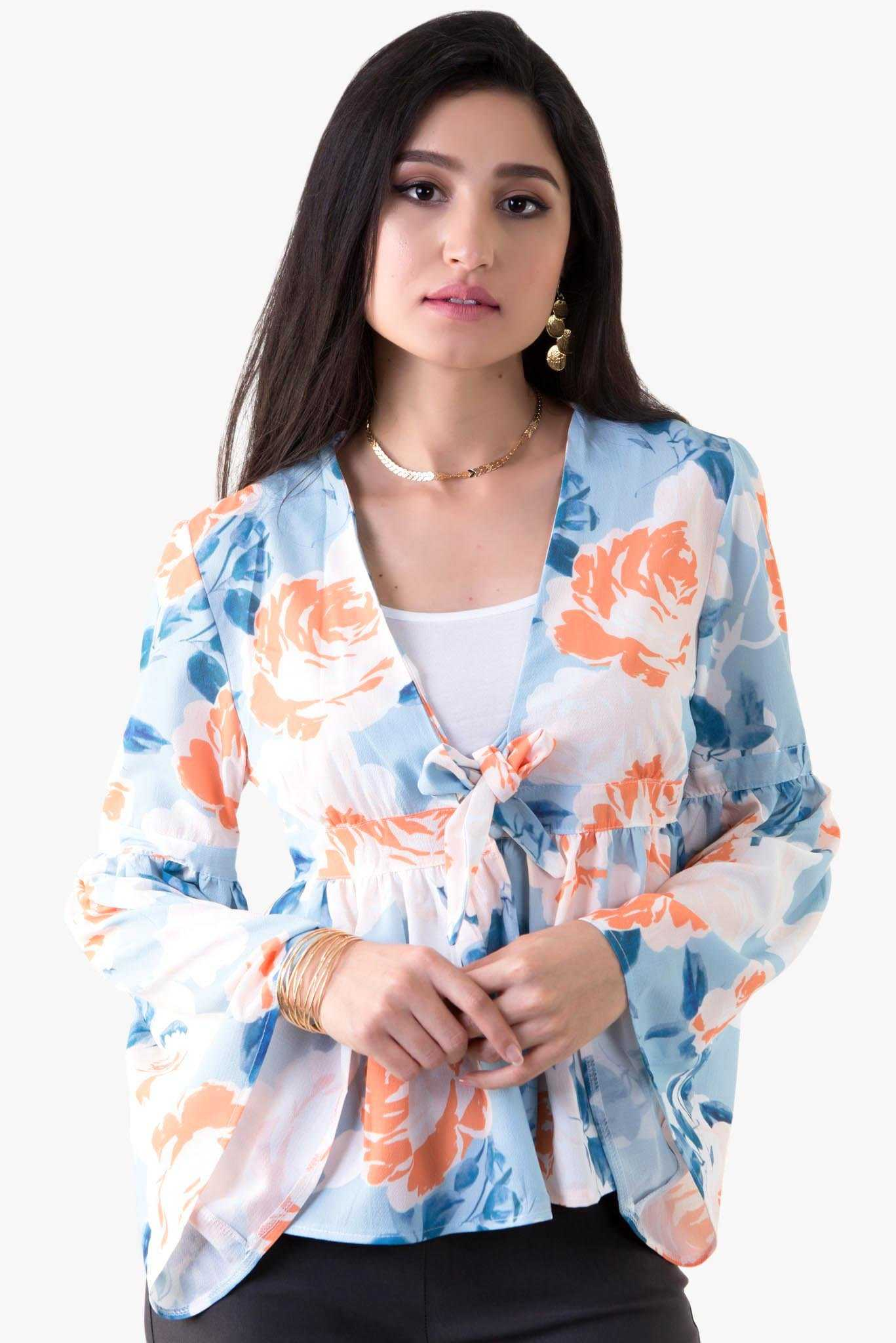 Tie Front Frill Top - Floral | Raw Orange