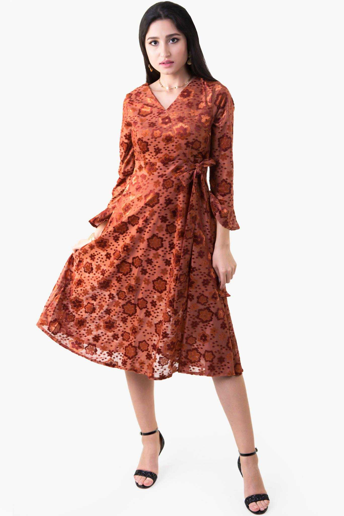 Velvet Floral Dress - Brown | Raw Orange