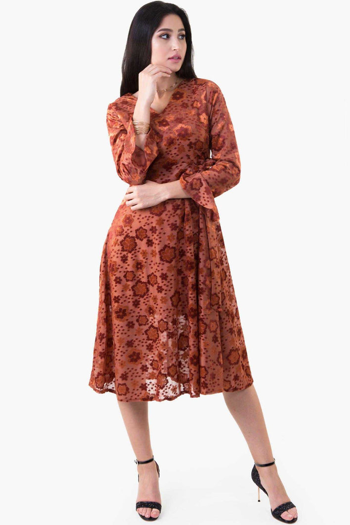 Velvet Floral Dress - Brown