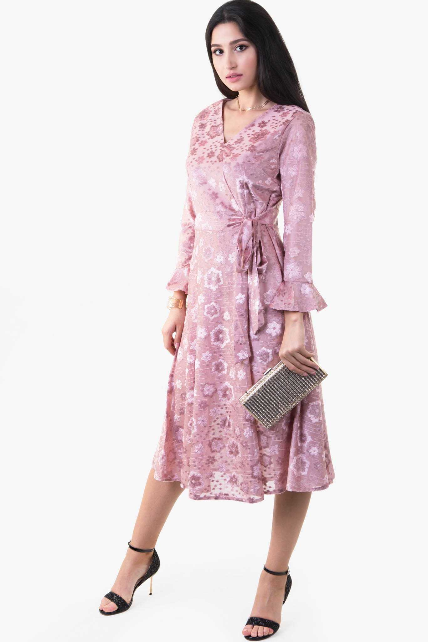 Velvet Floral Dress - Pink | Raw Orange