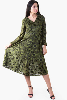 Velvet Floral Dress - Green | Raw Orange