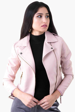 Leather Jacket - Nude Pink | Raw Orange