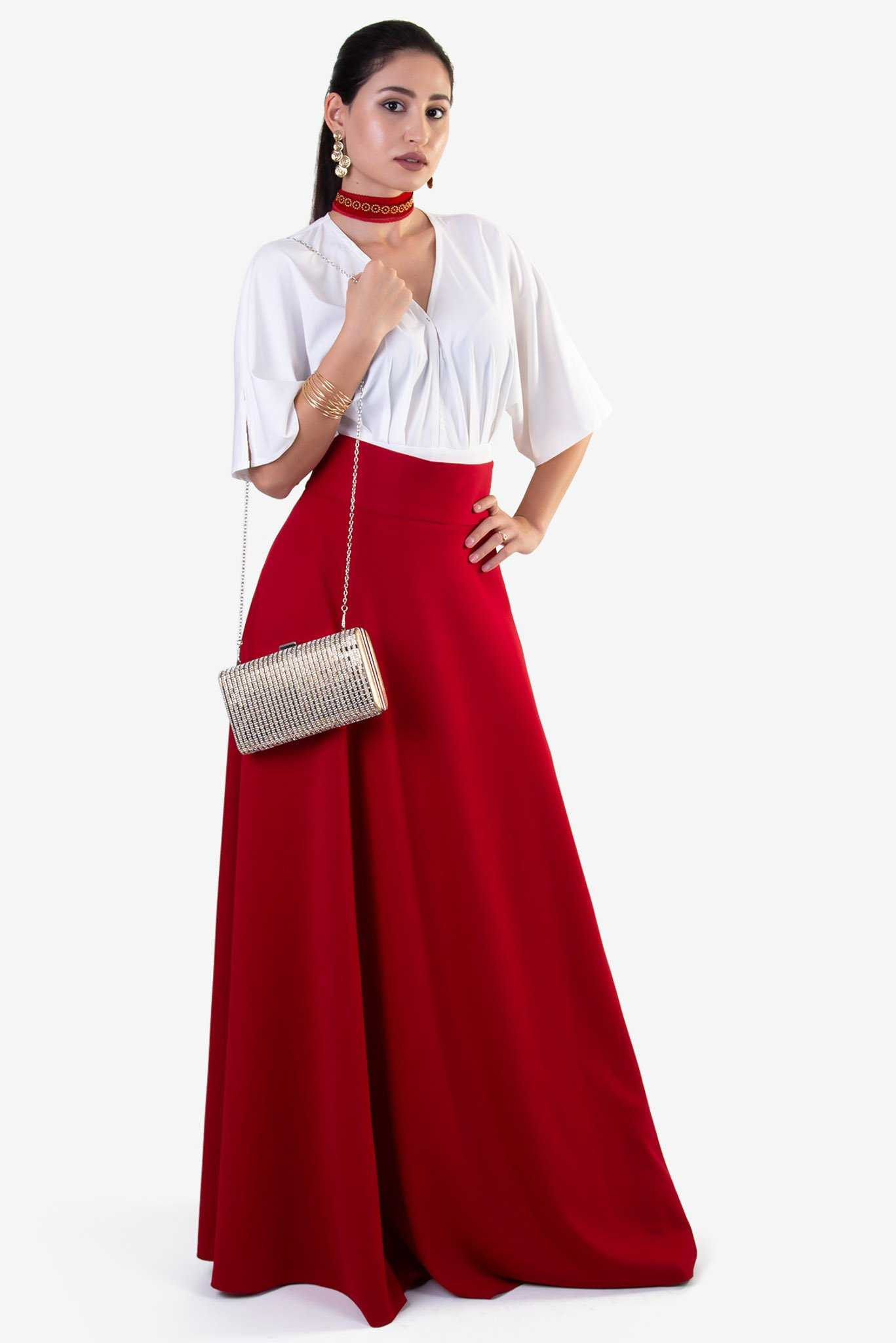 High Waist Maxi Skirt - Red | Raw Orange