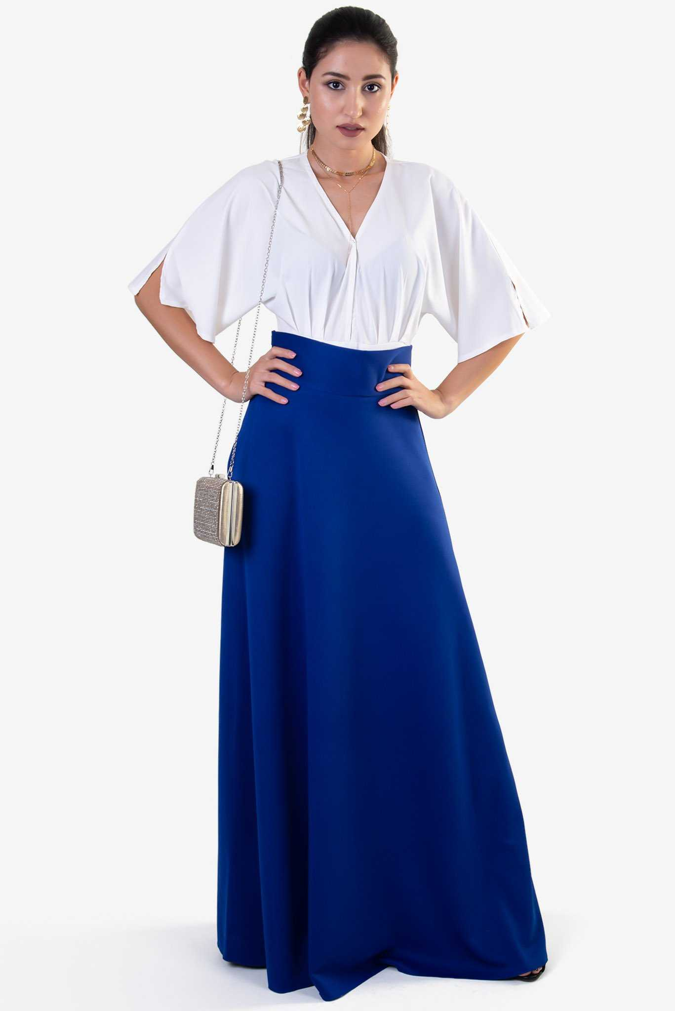 High Waist Maxi Skirt - Blue | Raw Orange