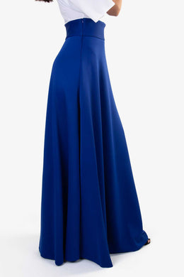 High Waist Maxi Skirt - Blue