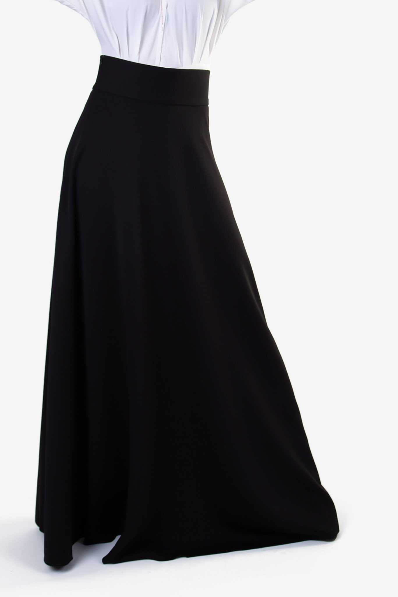 High Waist Maxi Skirt - Black | Raw Orange