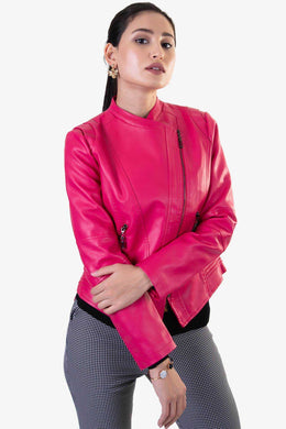 Leather Jacket - Hot Pink | Raw Orange