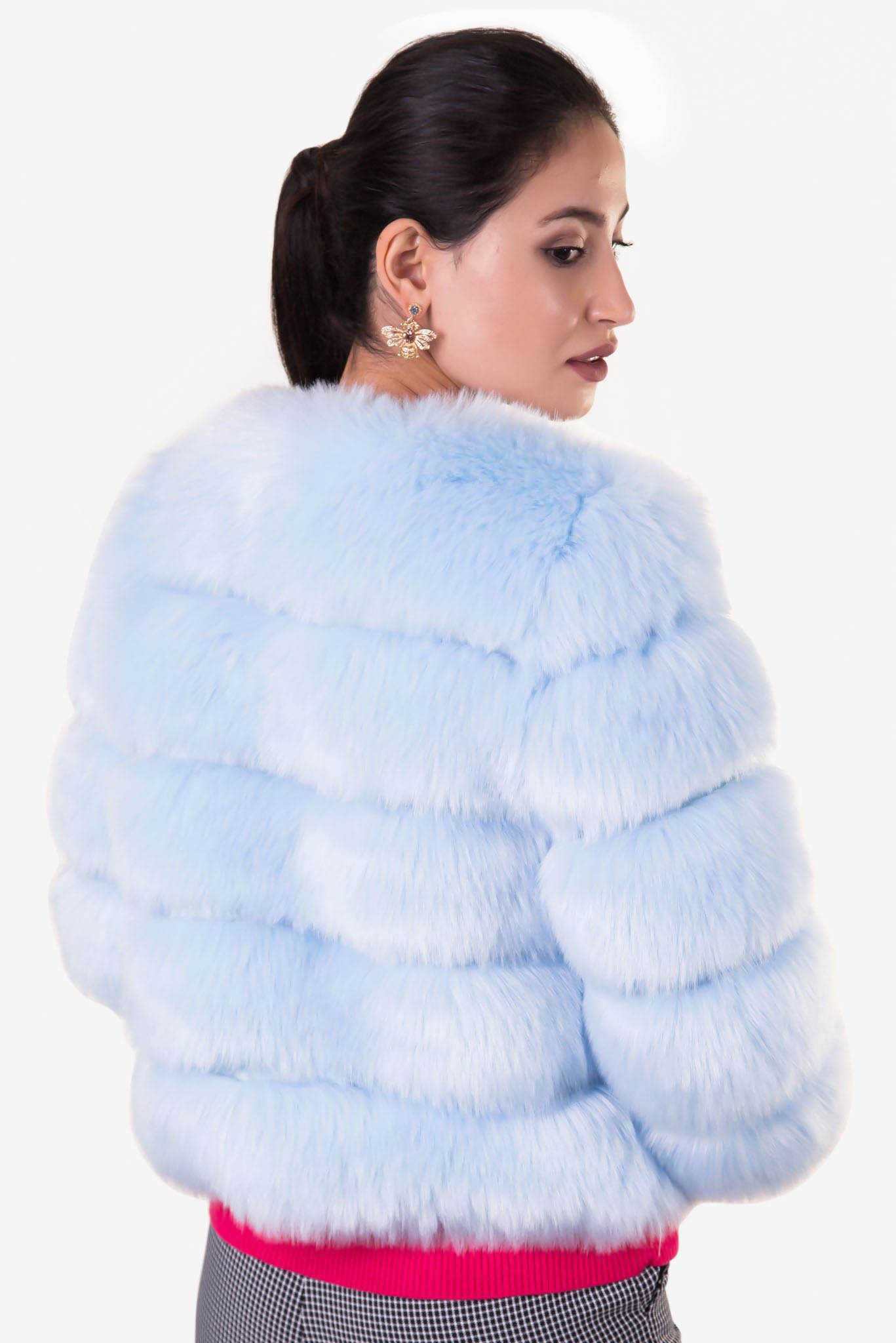 Faux Fur Jacket - Blue | Raw Orange