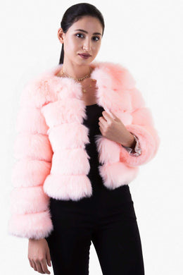 Faux Fur Jacket - Pink