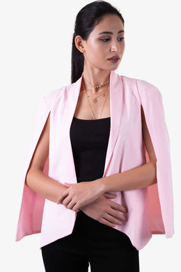 Cape Sleeve Blazer - Pink | Raw Orange