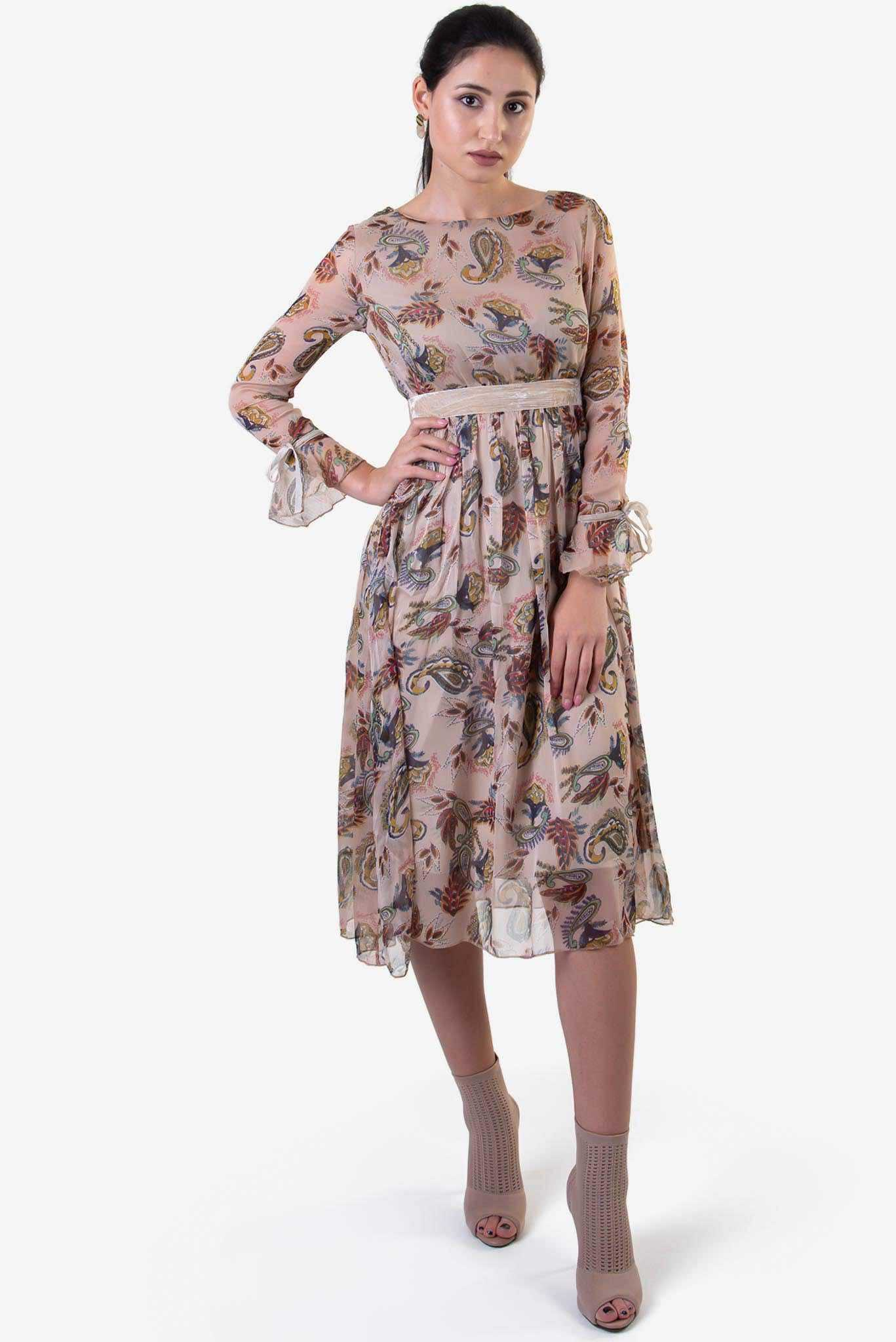 Floral Midi Dress | Raw Orange