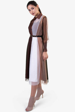 Mesh Dress - Brown