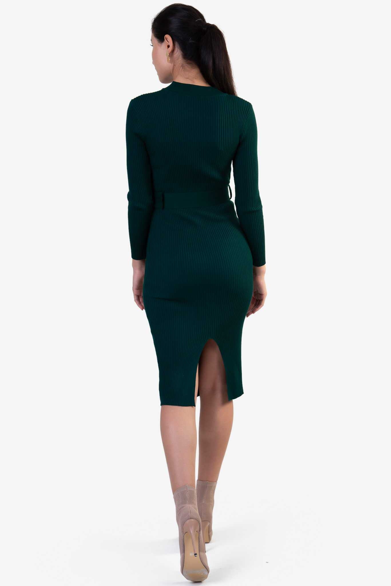 Knit Bodycon Dress - Green | Raw Orange