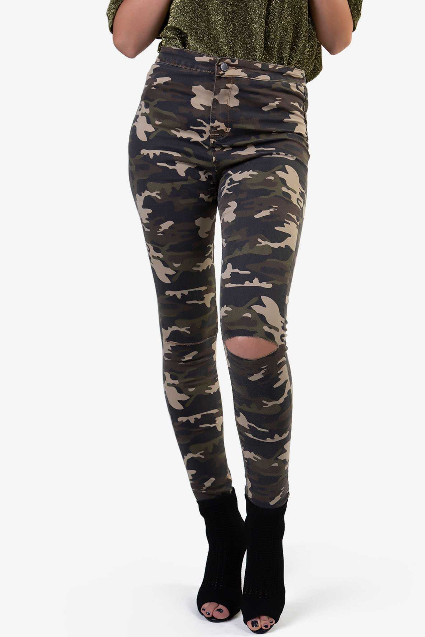 Camo Ripped Pants | Raw Orange