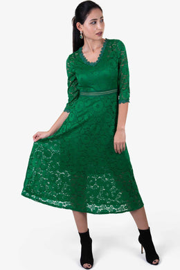 Scallop Lace Dress - Green | Raw Orange