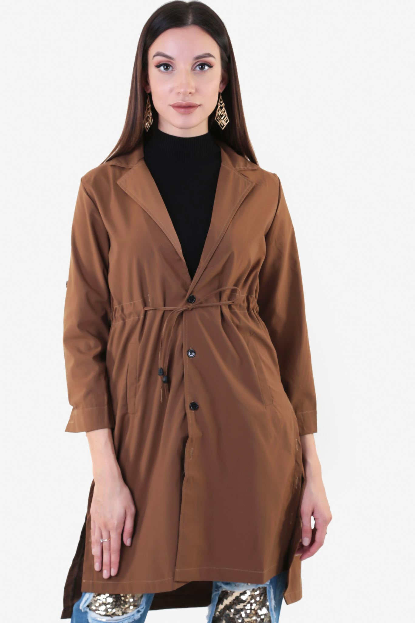 Drawstring Trench Coat | Raw Orange