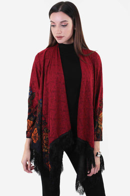 Oversized Fringes Cape - Red