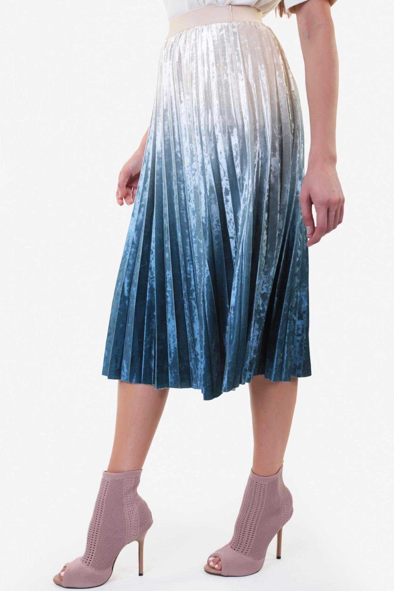 Ombré Velvet Skirt - Blue | Raw Orange