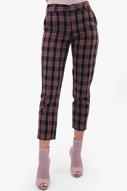 Black Checks Pants | Raw Orange