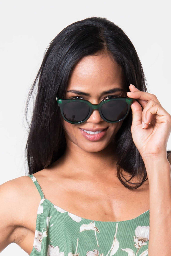 Round Green Frame Sunglasses