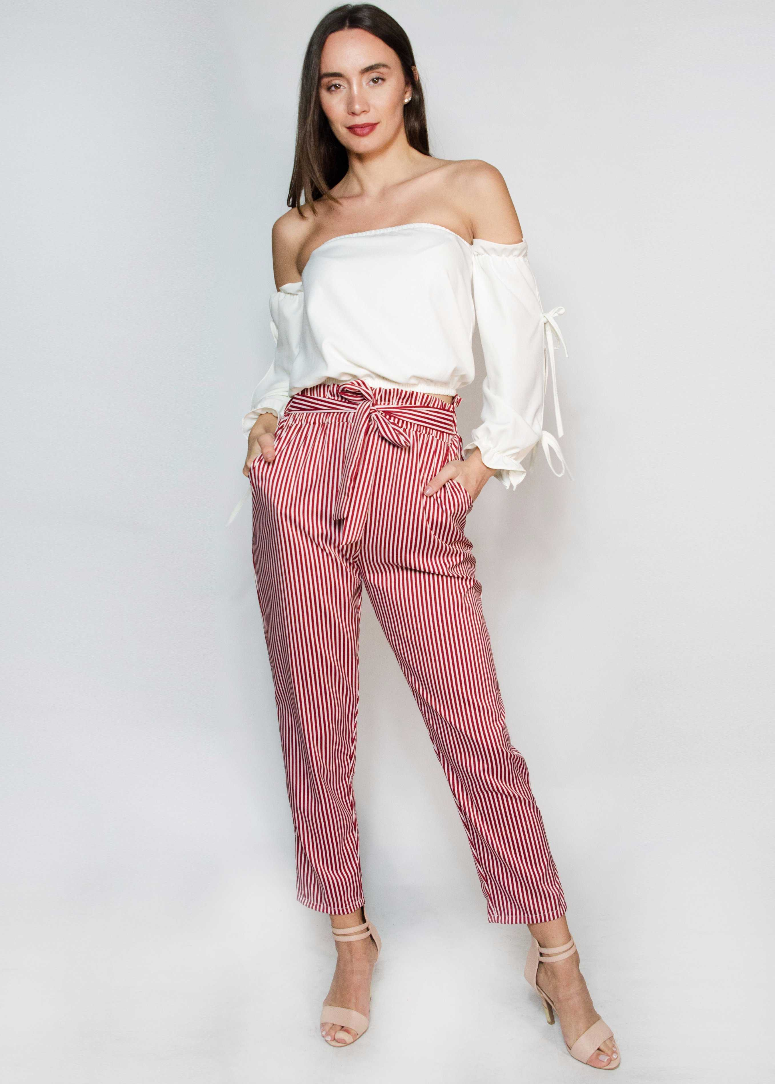 Pleated Striped Pants