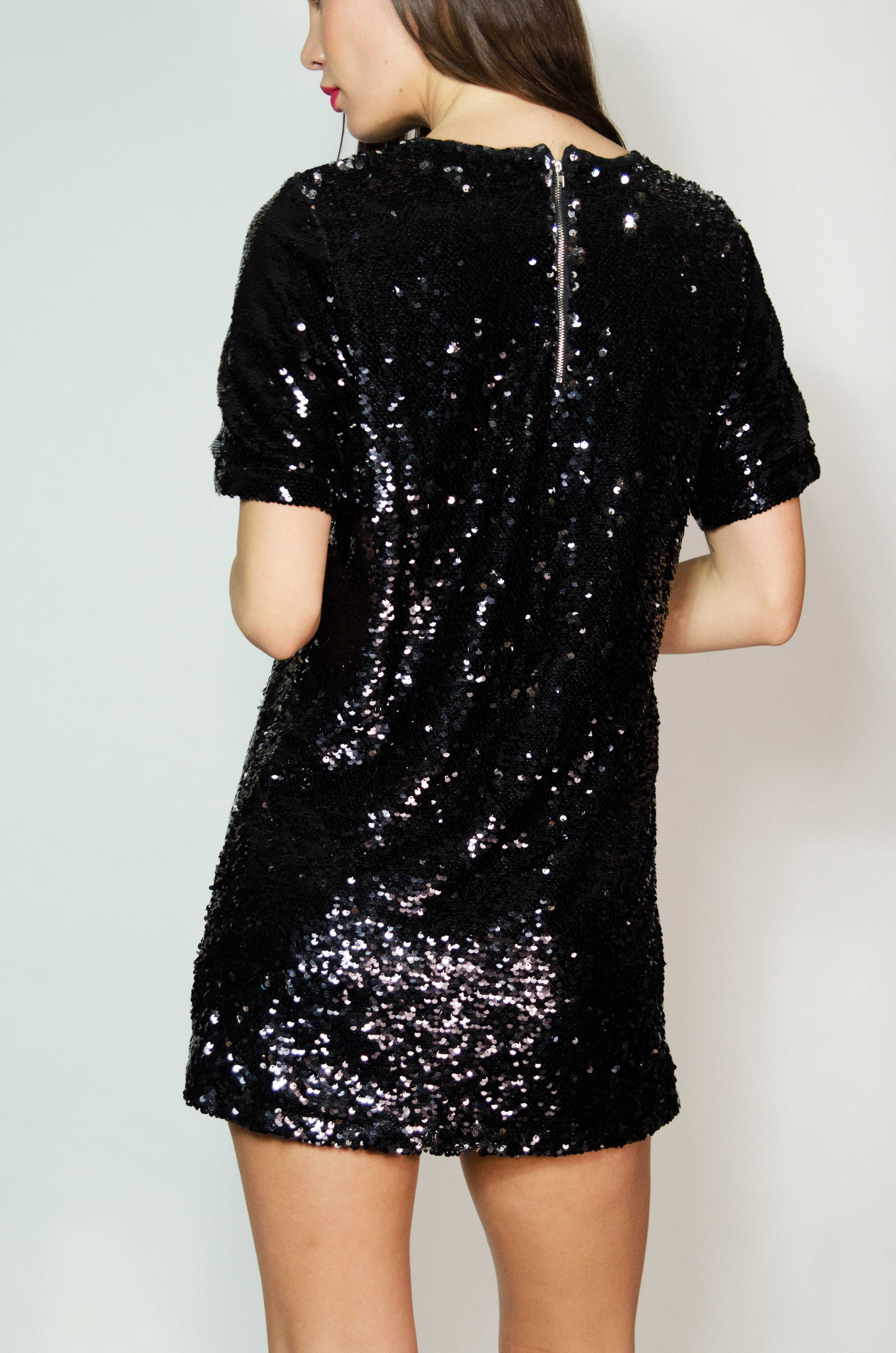 Sasha Short Sequin Dress Black