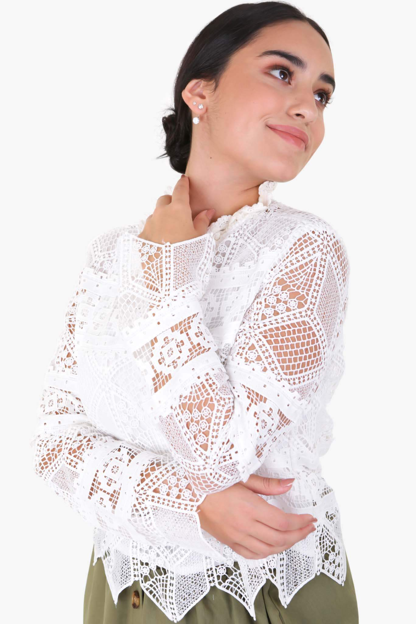 Lace Top - White | Raw Orange