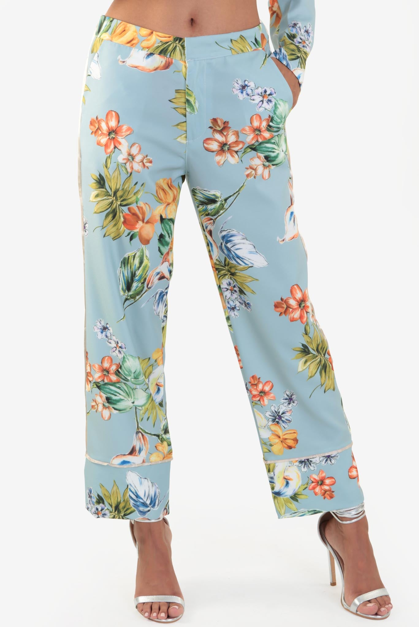 Co-ord Set Pants - Floral | Raw Orange