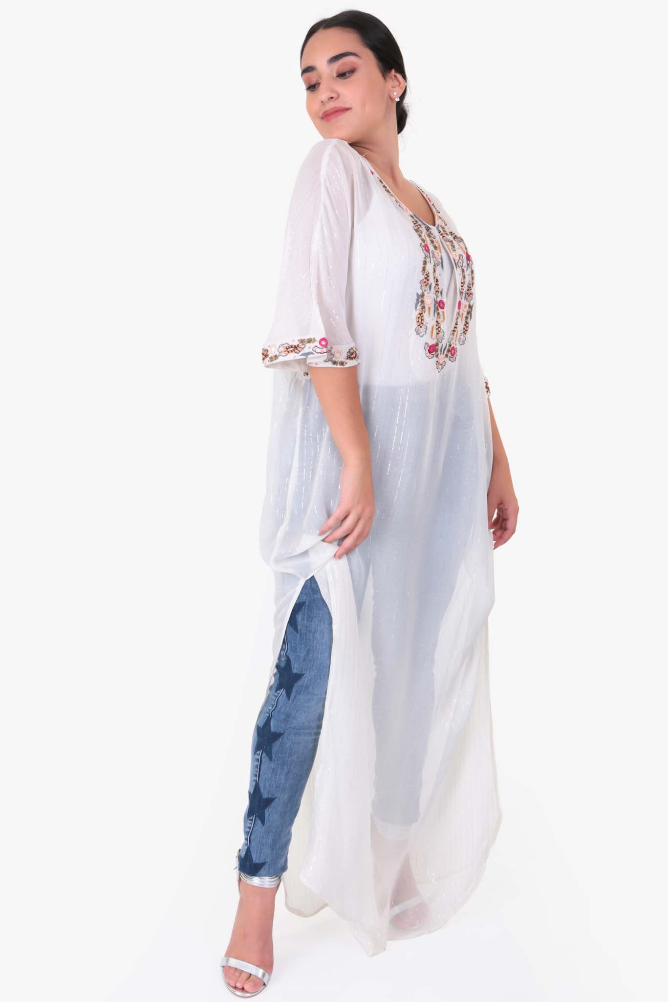 Long White Kaftan | Raw Orange
