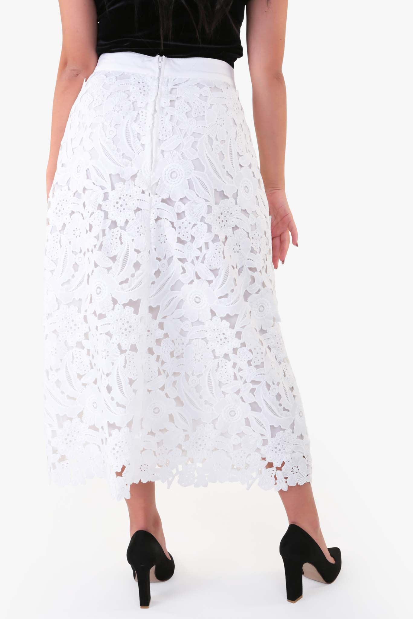 Lace Midi Skirt | Raw Orange