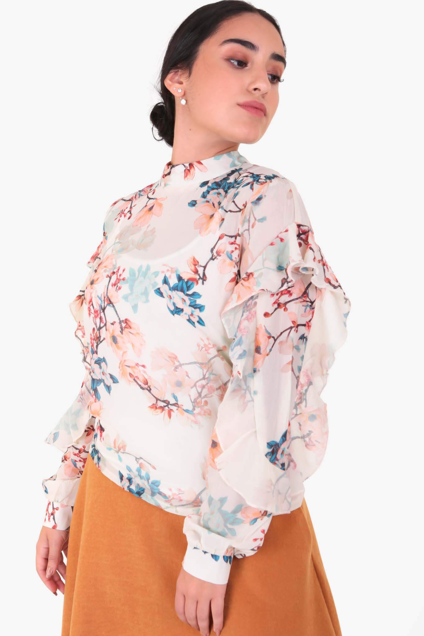 Flowery Printed Blouse | Raw Orange